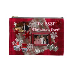 Best Christmas Ever Red Plaid Snow Extra Large Cosmetic Bag By Ellan   Cosmetic Bag (large)   Djbu6fm61r7a   Www Artscow Com Front