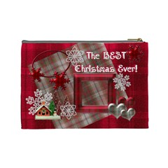 Best Christmas Ever Red Plaid Snow Extra Large Cosmetic Bag By Ellan   Cosmetic Bag (large)   Djbu6fm61r7a   Www Artscow Com Back