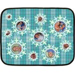 Aqua plaid sonwflake winter blanket - Fleece Blanket (Mini)
