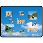 Joy love hope blue sky fluffy clouds extra large fleece - Fleece Blanket (Large)