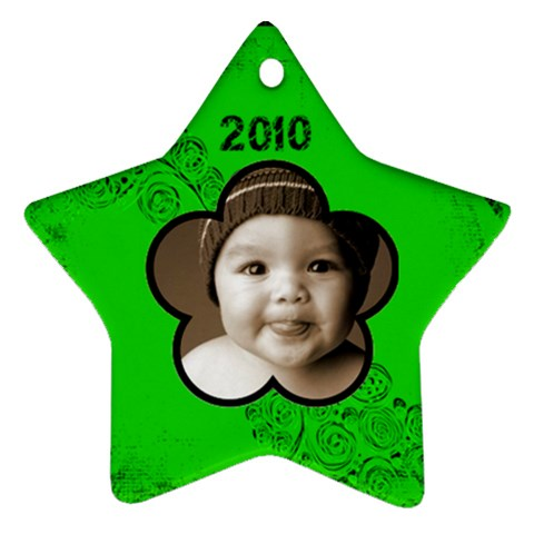 Scroll Upon A Star Black & Lime 2010 Star Ornament By Catvinnat   Ornament (star)   Ukz5yohxz6f2   Www Artscow Com Front