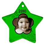 Scroll Upon a Star black & lime 2010 star ornament - Ornament (Star)