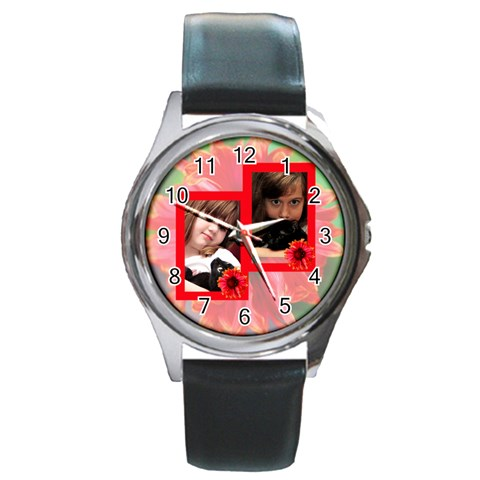 My Garden Watch By Patricia W   Round Metal Watch   7jj18r615ezb   Www Artscow Com Front