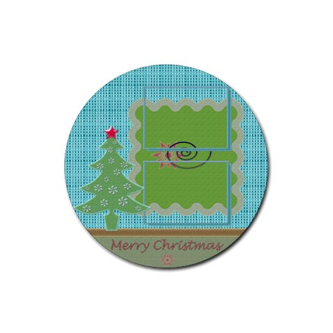 Christmas By Daniela   Rubber Round Coaster (4 Pack)   3d9i0dybx1xt   Www Artscow Com Front