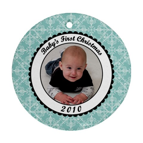 Jaxon 1st Christmas By Tami Blue   Ornament (round)   Cl3nk1fh85mp   Www Artscow Com Front