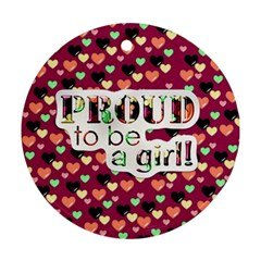 Girl Power Ornament 1001 By Lisa Minor   Round Ornament (two Sides)   3cr266azo8tw   Www Artscow Com Back