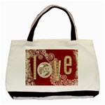 love red & beige swirls tote tote bag 3 - Basic Tote Bag (Two Sides)