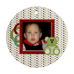 Happy Holidays Baby s First Christmas Ornament 1001 By Lisa Minor   Round Ornament (two Sides)   4hxrzm3fvkh3   Www Artscow Com Front