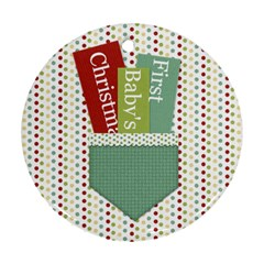 Happy Holidays Baby s First Christmas Ornament 1001 By Lisa Minor   Round Ornament (two Sides)   4hxrzm3fvkh3   Www Artscow Com Back