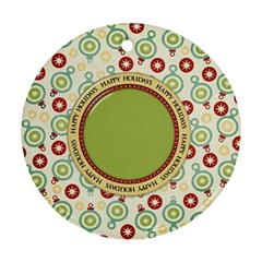 Happy Holidays Ornament 1001 By Lisa Minor   Round Ornament (two Sides)   Dowetj3akirg   Www Artscow Com Back