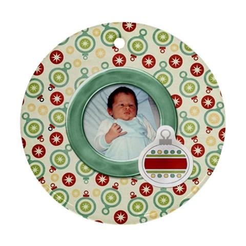 Happy Holidays Ornament 203 By Lisa Minor   Ornament (round)   8pr4zgi84i8r   Www Artscow Com Front