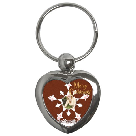 Snow Xmas By Joely   Key Chain (heart)   Zzv0s3i9drl8   Www Artscow Com Front