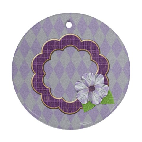 Lavender Rain Ornament 102 By Lisa Minor   Ornament (round)   Kr4wjd3wygke   Www Artscow Com Front