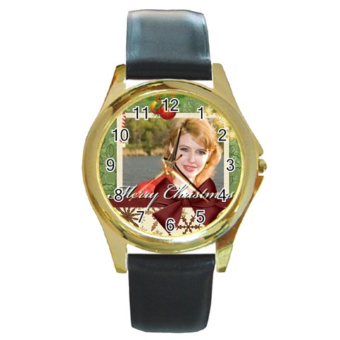Xmas By Joely   Round Gold Metal Watch   0mtinma8g5d8   Www Artscow Com Front