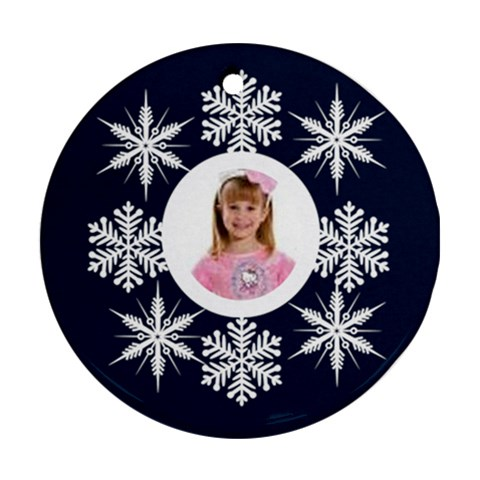 Snowflake Round Ornament By Catvinnat   Ornament (round)   Ew7ru19ynp86   Www Artscow Com Front