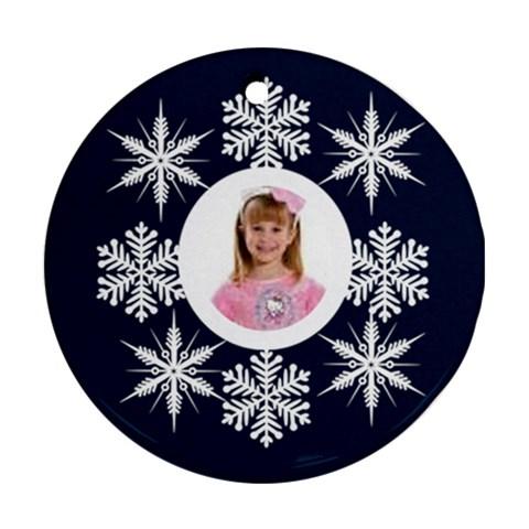 Snowflake Round Ornament By Catvinnat   Ornament (round)   Ew7ru19ynp86   Www Artscow Com Front