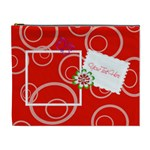 Red Swirls Custom Cosmetic Bag XL - Cosmetic Bag (XL)