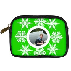 Key Lime Funky Snowflake Camera Case By Catvinnat   Digital Camera Leather Case   6d72xklp3jla   Www Artscow Com Front