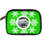 Key lime funky snowflake camera case - Digital Camera Leather Case