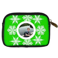Key Lime Funky Snowflake Camera Case By Catvinnat   Digital Camera Leather Case   6d72xklp3jla   Www Artscow Com Back