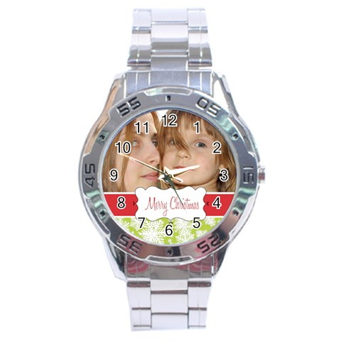 Xmas By Wood Johnson   Stainless Steel Analogue Watch   Oelj8ija5st1   Www Artscow Com Front
