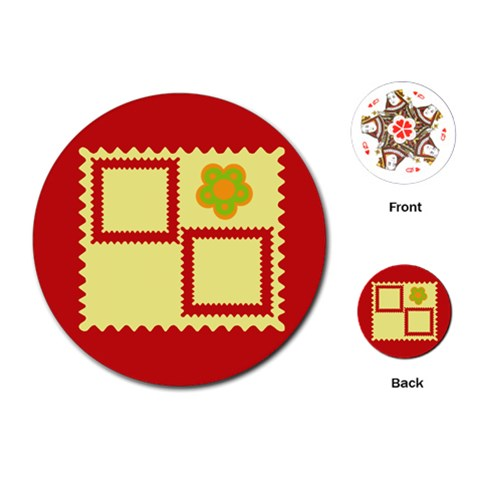 Red Frames Cards By Daniela   Playing Cards (round)   1h0zuvqbflam   Www Artscow Com Front