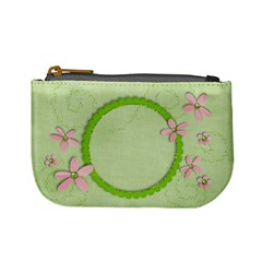 Pink & Green Flowers   Mini Coin Purse By Mikki   Mini Coin Purse   82ozbfpl0kb0   Www Artscow Com Front