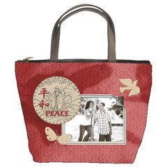Peace & Faith Red Bucket Bag By Lil    Bucket Bag   3wkgd0f4ui9h   Www Artscow Com Front