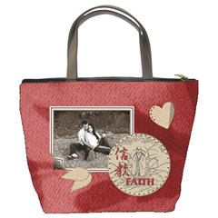 Peace & Faith Red Bucket Bag By Lil    Bucket Bag   3wkgd0f4ui9h   Www Artscow Com Back