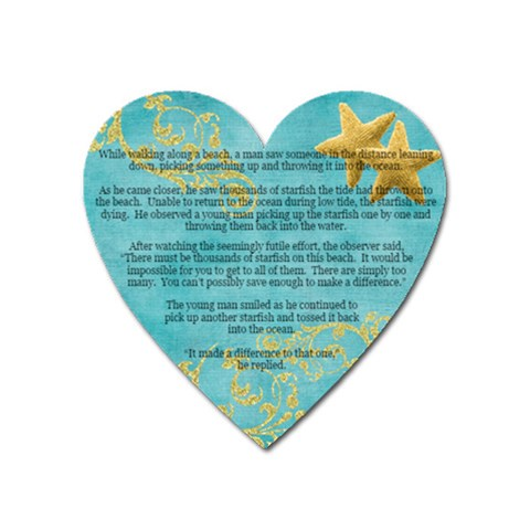 Starfish By Amazing Moi   Magnet (heart)   H2u1dm3qvoe5   Www Artscow Com Front