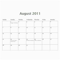 2011 Hunnell Calendar By Susan   Wall Calendar 11  X 8 5  (12 Months)   Chebl8ja89lg   Www Artscow Com Aug 2011