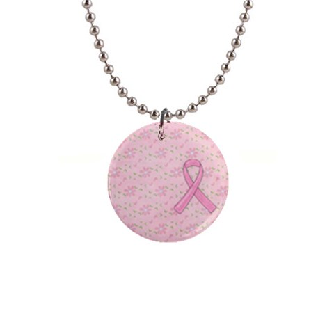 Breast Cancer Awareness Button Necklace By Mikki   1  Button Necklace   Otb8fi3m9sbw   Www Artscow Com Front
