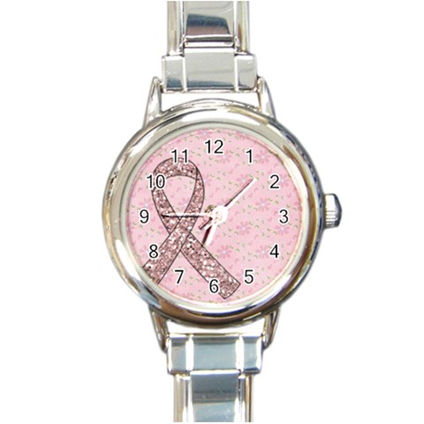 Breast Cancer Awareness Watch By Mikki   Round Italian Charm Watch   29n0yvehv75p   Www Artscow Com Front