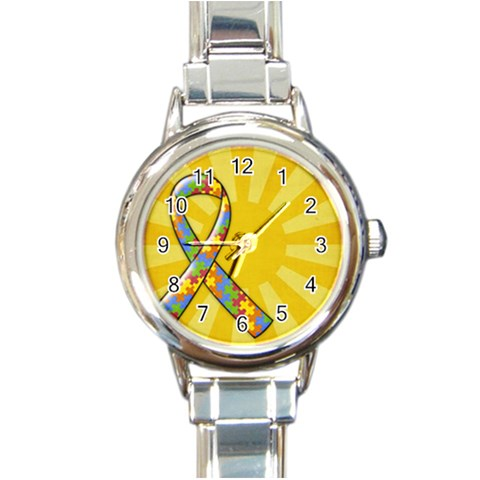 Autism Awareness Italian Charm Watch By Mikki   Round Italian Charm Watch   N9skmiazmtum   Www Artscow Com Front