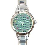 Polka Dots & glitter, Italian Charm watch - Round Italian Charm Watch