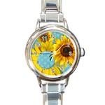 Sunflower & sunshine-Italian Charm Watch - Round Italian Charm Watch