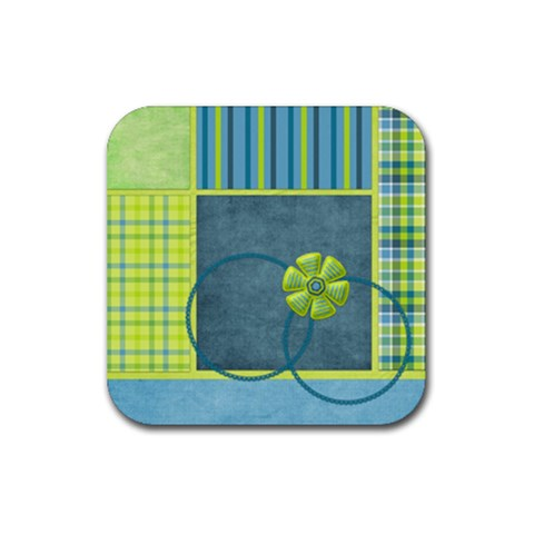 Bluegrass Square Coaster Set 1 By Lisa Minor   Rubber Square Coaster (4 Pack)   B20fvr1kyalq   Www Artscow Com Front