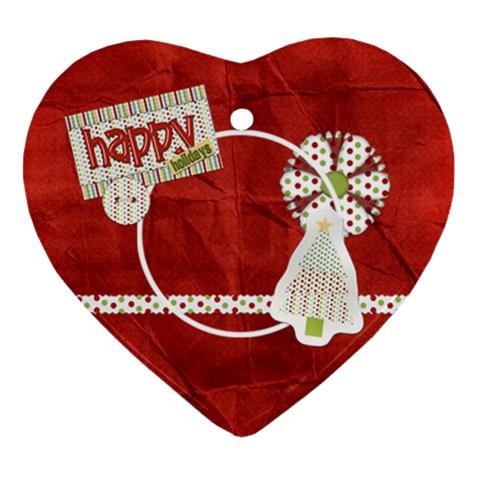Happy Holidays Heart Ornament 1 By Lisa Minor   Ornament (heart)   2y2n54rtpcul   Www Artscow Com Front