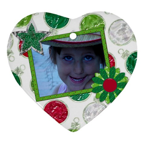 Merry And Bright Heart Ornament 1 By Lisa Minor   Ornament (heart)   X3xcuejs2drf   Www Artscow Com Front