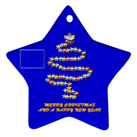 Merry Christmas Blue By Daniela   Ornament (star)   Pxo0tg0agu9h   Www Artscow Com Front