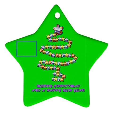 Merry Christmas Green By Daniela   Ornament (star)   9a9nrjava4k3   Www Artscow Com Front