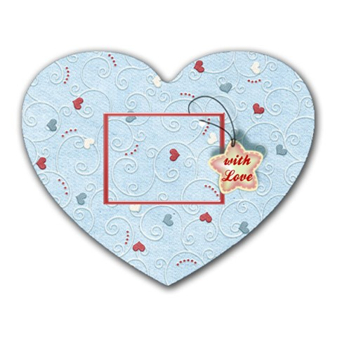With Love Blue By Daniela   Heart Mousepad   97t9cgljr8ph   Www Artscow Com Front