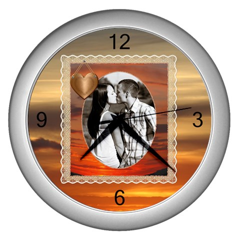 Sunset Clock By Lil    Wall Clock (silver)   V8xuln8l1ni6   Www Artscow Com Front