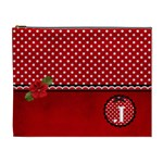 XL- Cosmetic Case - Red/Polka Dots - Cosmetic Bag (XL)