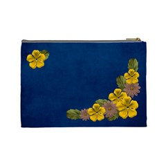 L  Cosmetic Case Yellow And Brown Flowers By Jennyl   Cosmetic Bag (large)   F075iv1r0fl1   Www Artscow Com Back