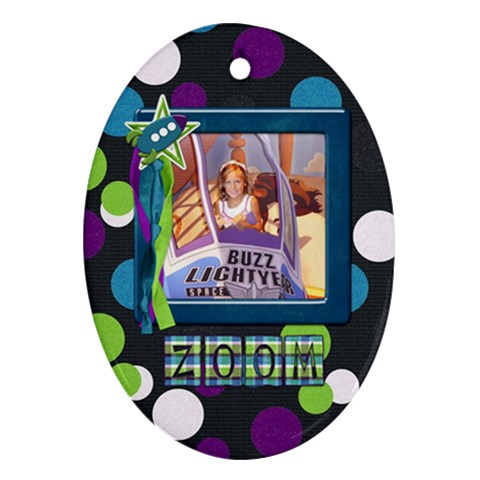 A Space Story 1 Sided Oval Ornament 1 By Lisa Minor   Ornament (oval)   6f74cwr9qxi7   Www Artscow Com Front