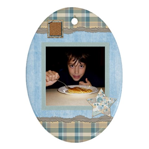 Boys Like Blue Oval 1 Sided Ornament 1 By Lisa Minor   Ornament (oval)   R1j6tax18zrd   Www Artscow Com Front