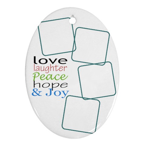Love Laughter Ornament By Amanda Bunn   Ornament (oval)   7prnw78ovn8f   Www Artscow Com Front