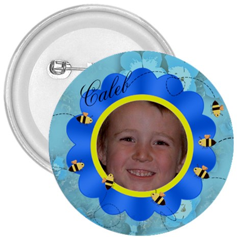 Bees And Flower Blue By Chere s Creations   3  Button   Vl0qq9w8mj7x   Www Artscow Com Front