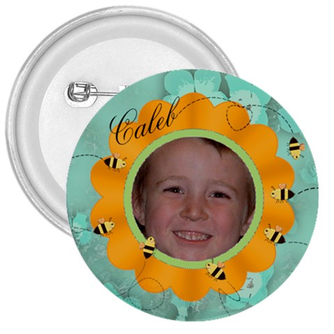 Bees And Flower Orange And Aqua By Chere s Creations   3  Button   264sdmevxejs   Www Artscow Com Front